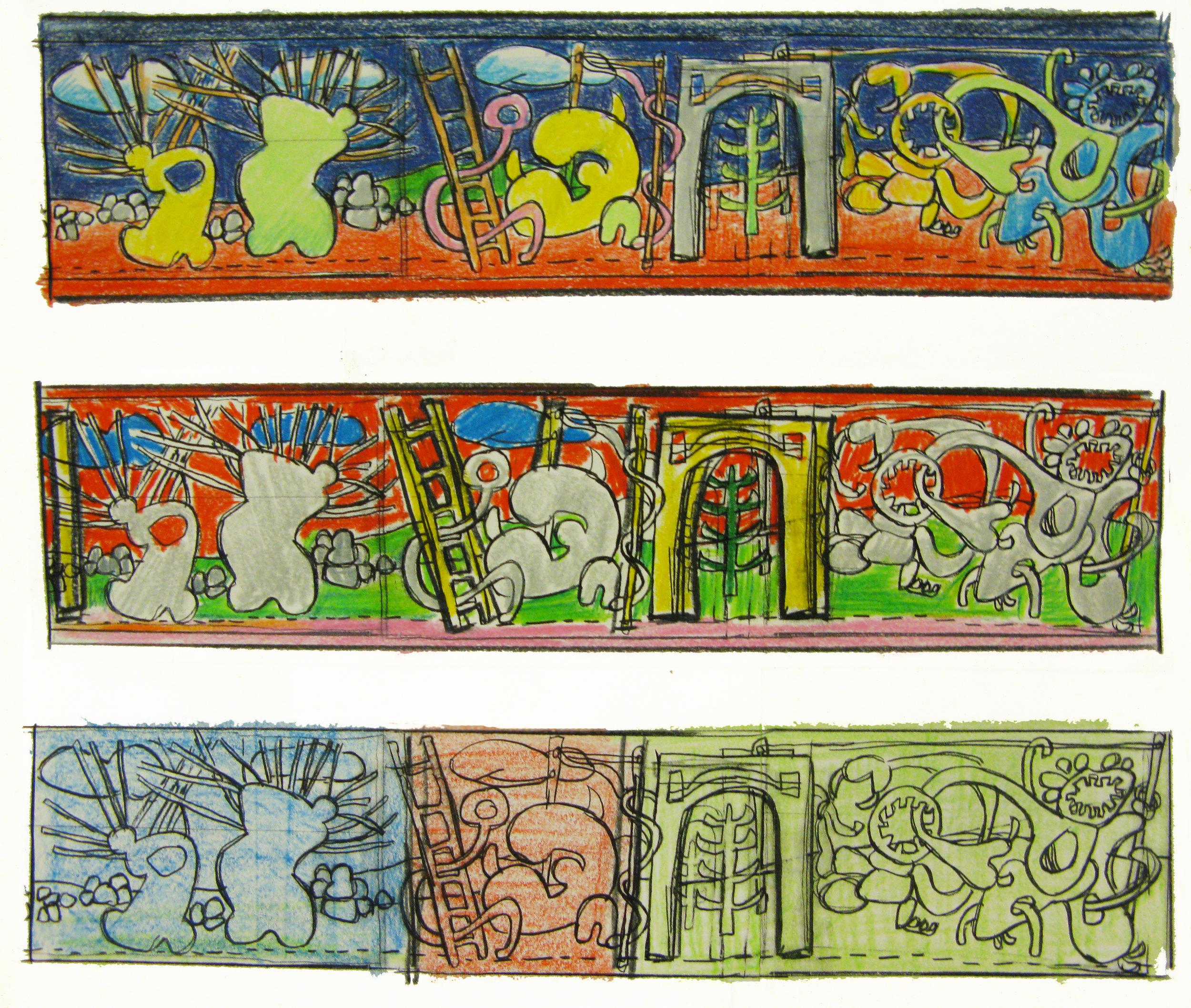 Visitors , three studies, colored pencil, 2011