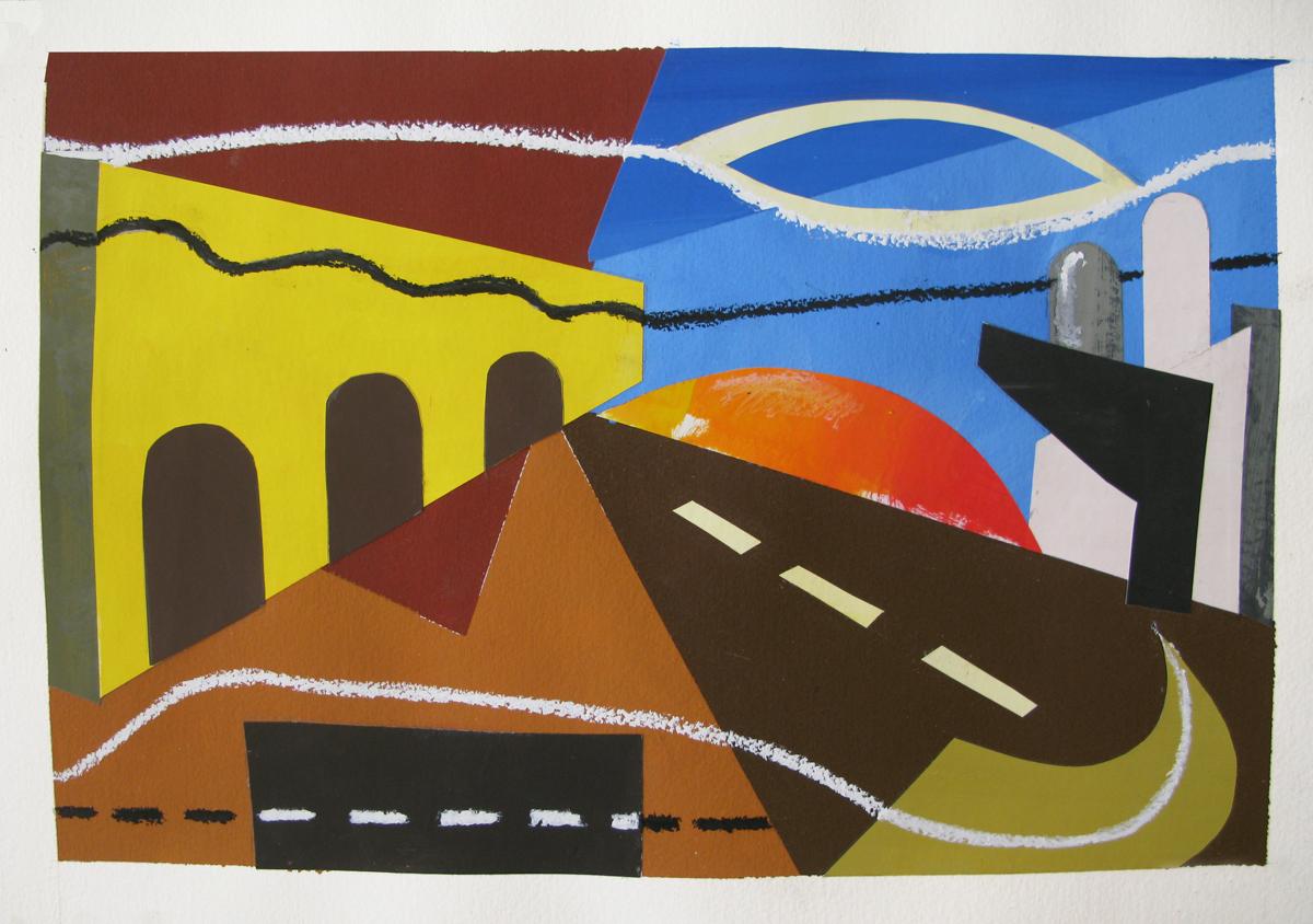 Road , cut paper gouache, 2013