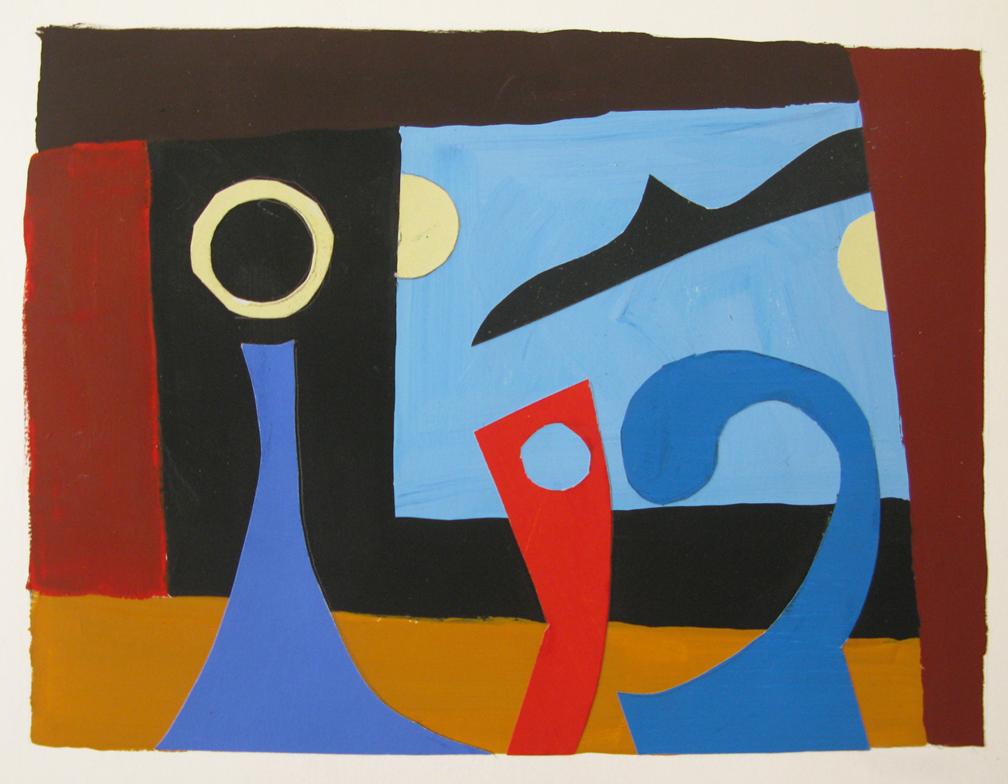 Two Moons , gouache cut paper, 2013