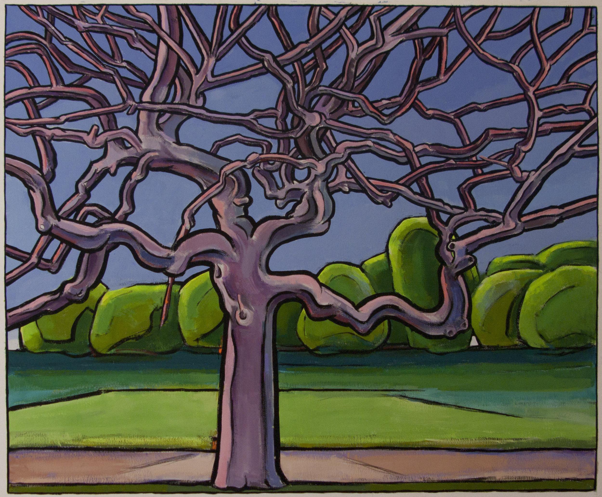 Purple Tree , 35 x 46 inches, gouache, 2017