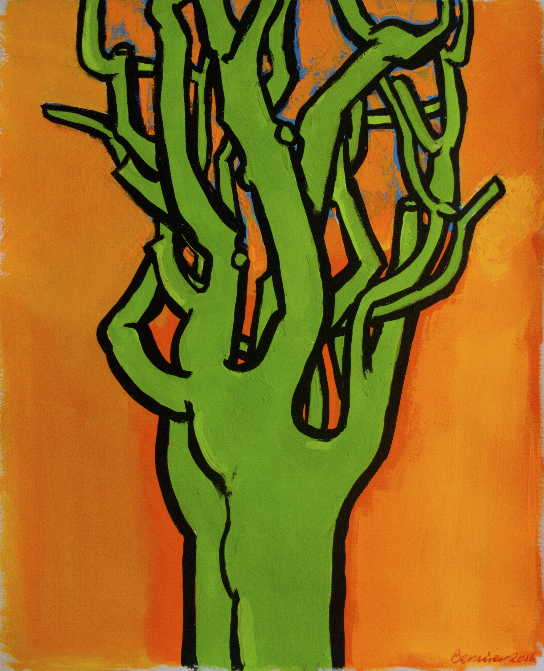 Green Pine (Orange Background) , 17 x 14 inches, gouache, 2016