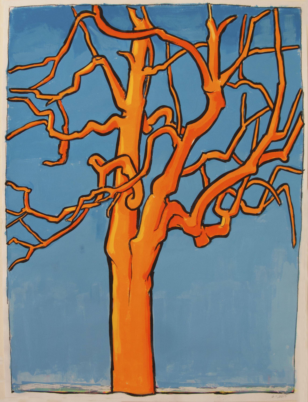 Orange Tree (Blue Sky) , 24 x 19 inches, gouache, 2016