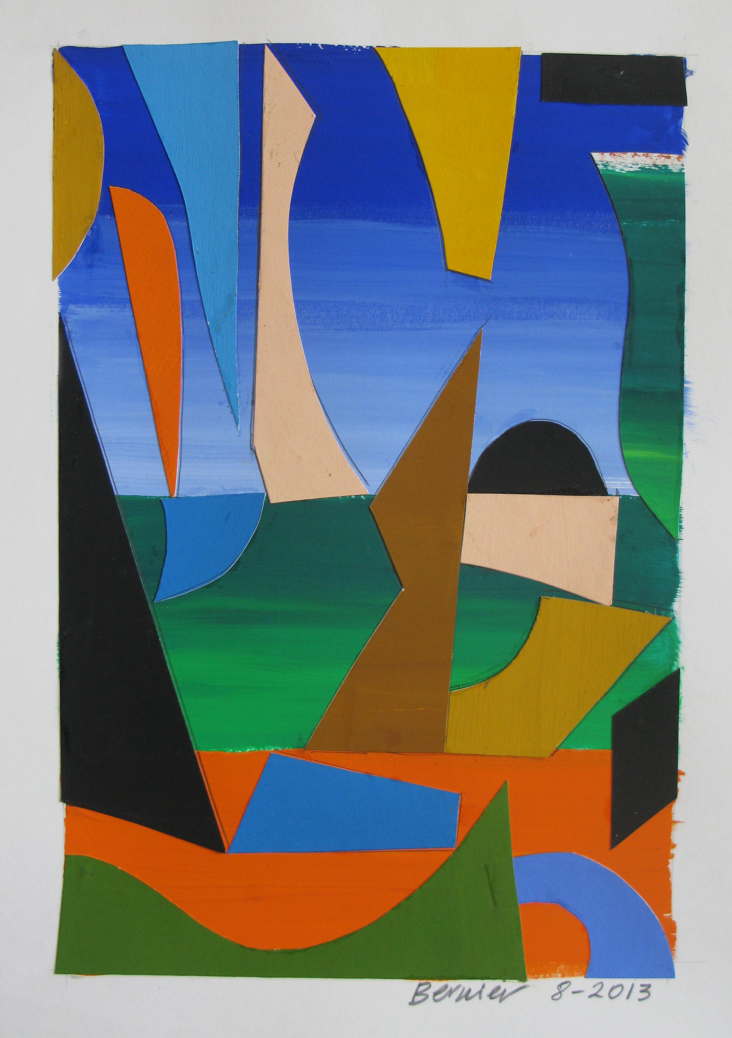 Summer Landscape, cut paper, gouache, 2013