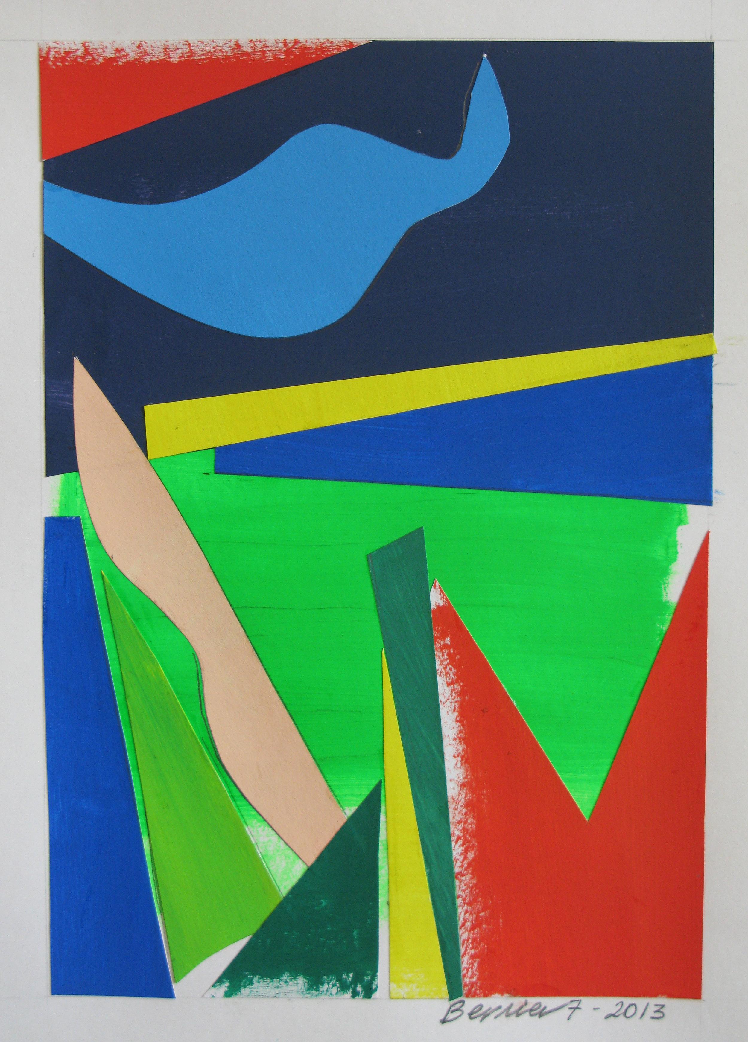 Blue Bird,  2013, cut paper, gouache, 2013