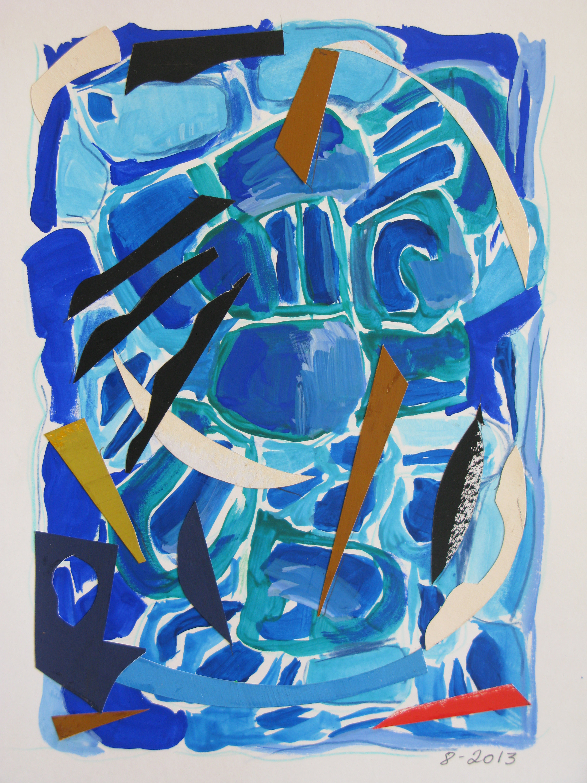 Pool I,  Cut paper, gouache, 2013