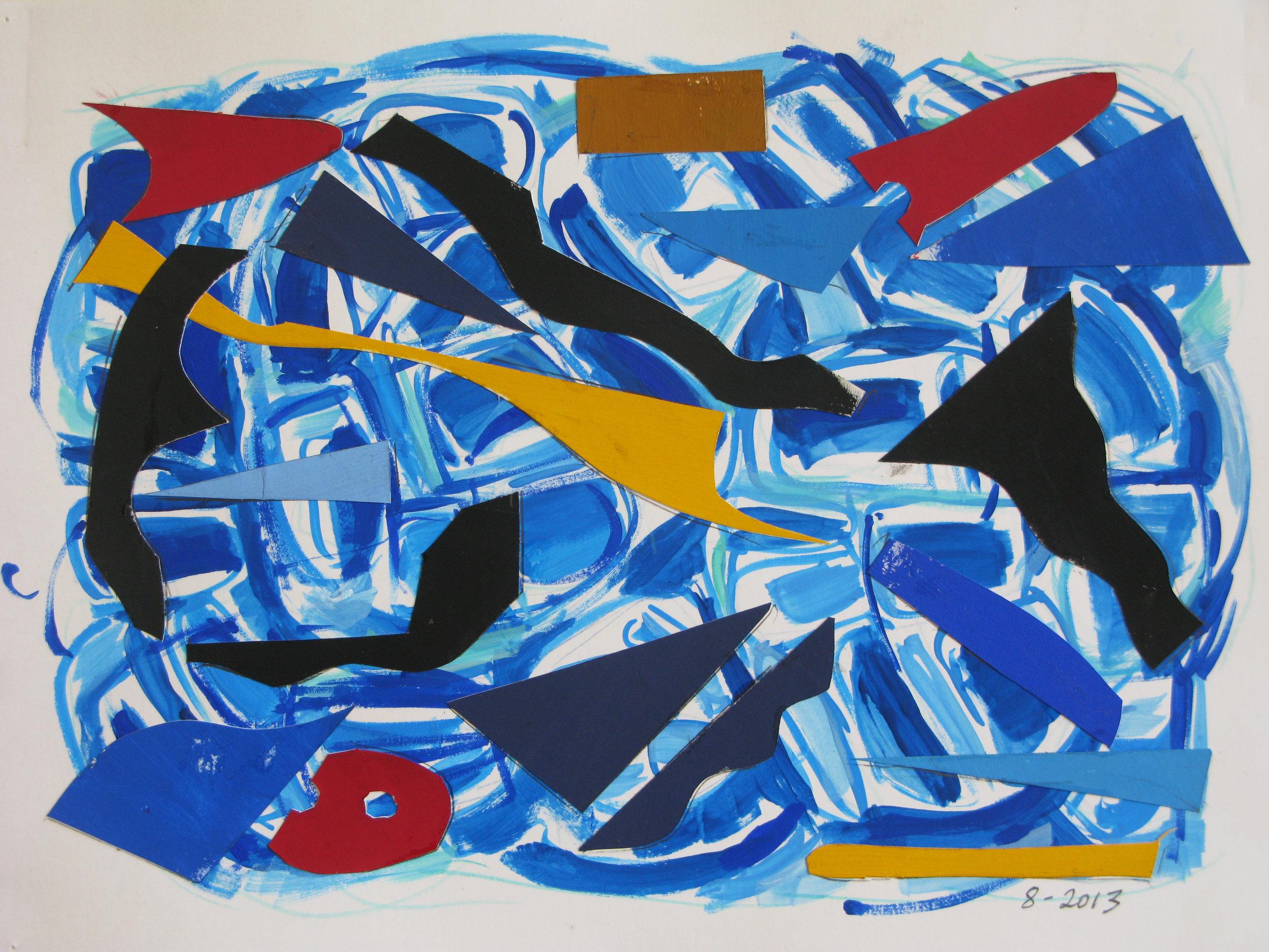 Pool II,  Cut paper, gouache, 2013