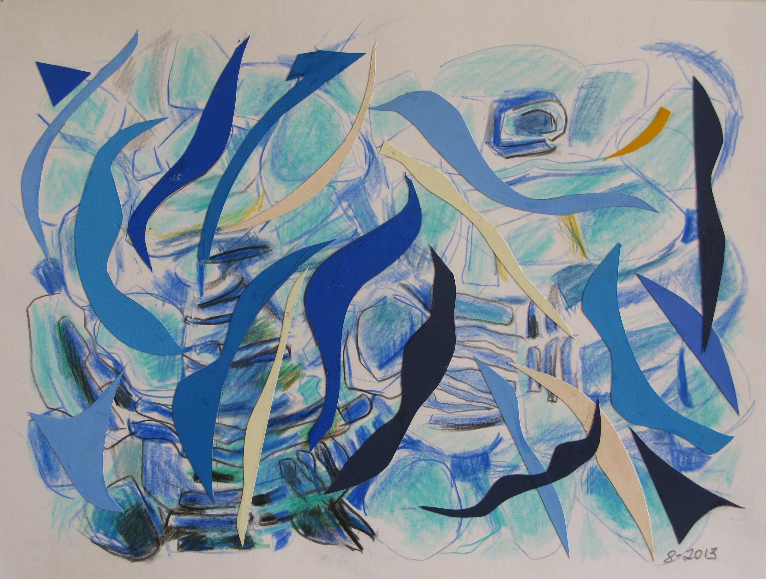 Pool IV,  Cut paper, gouache, colored pencil,  2013