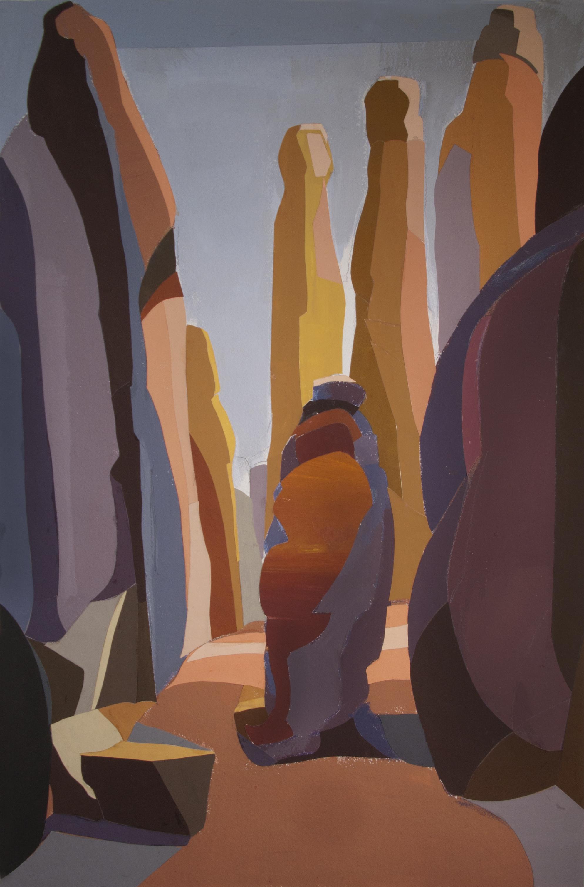 Tall Rocks Arches II,  cut paper, gouache, 36 x 24 in., 2018