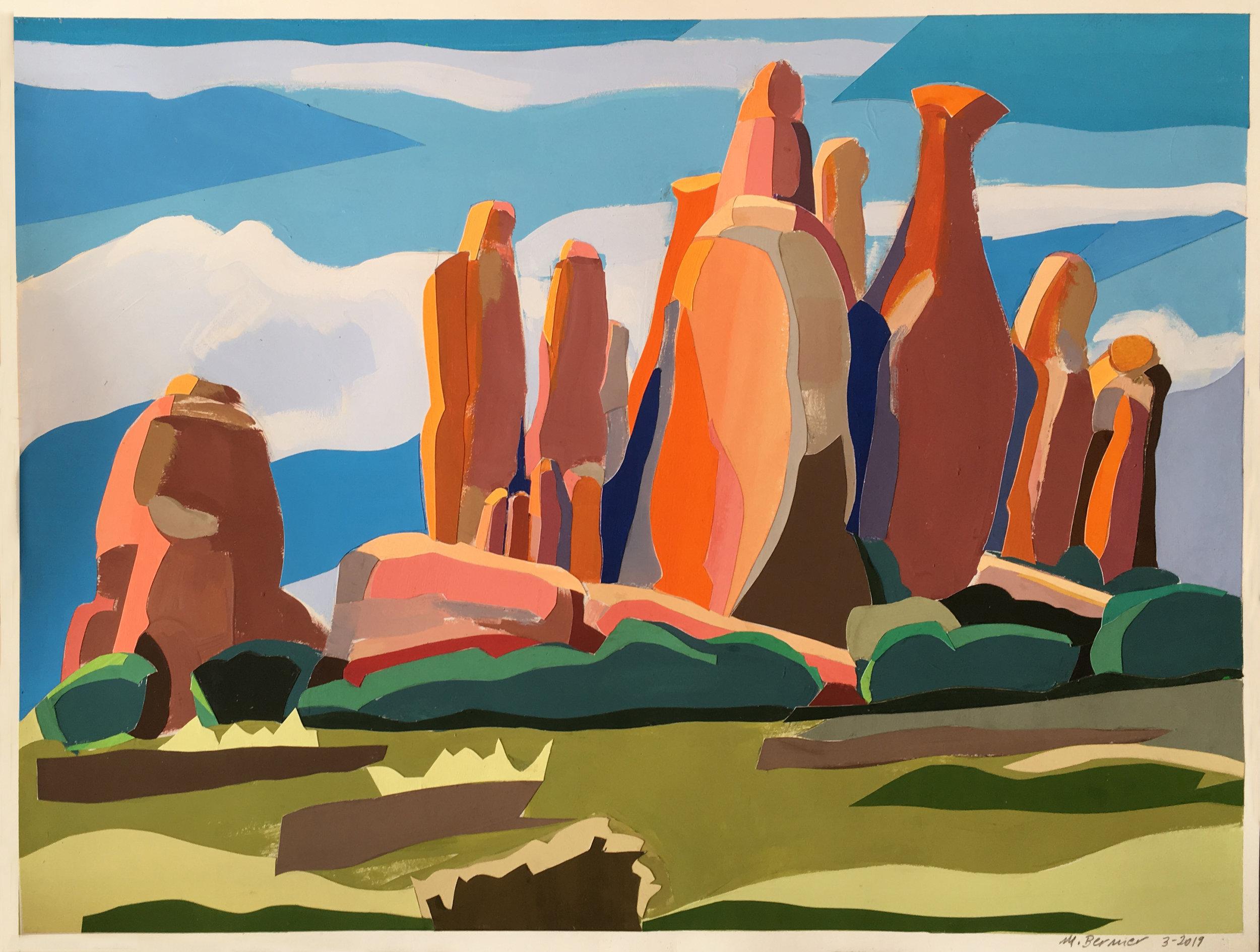 Arches National Park II,  cutout, gouache, 16 x 20 in., 2019