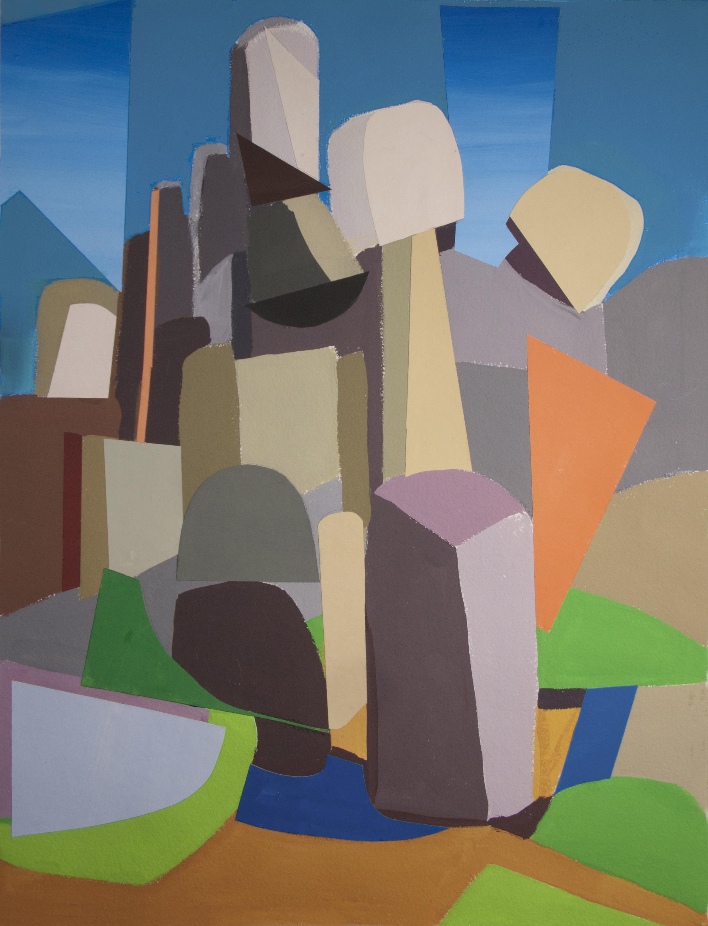 Joshua Tree Rocks,  cut paper, gouache, 30 x 22 in. 2018