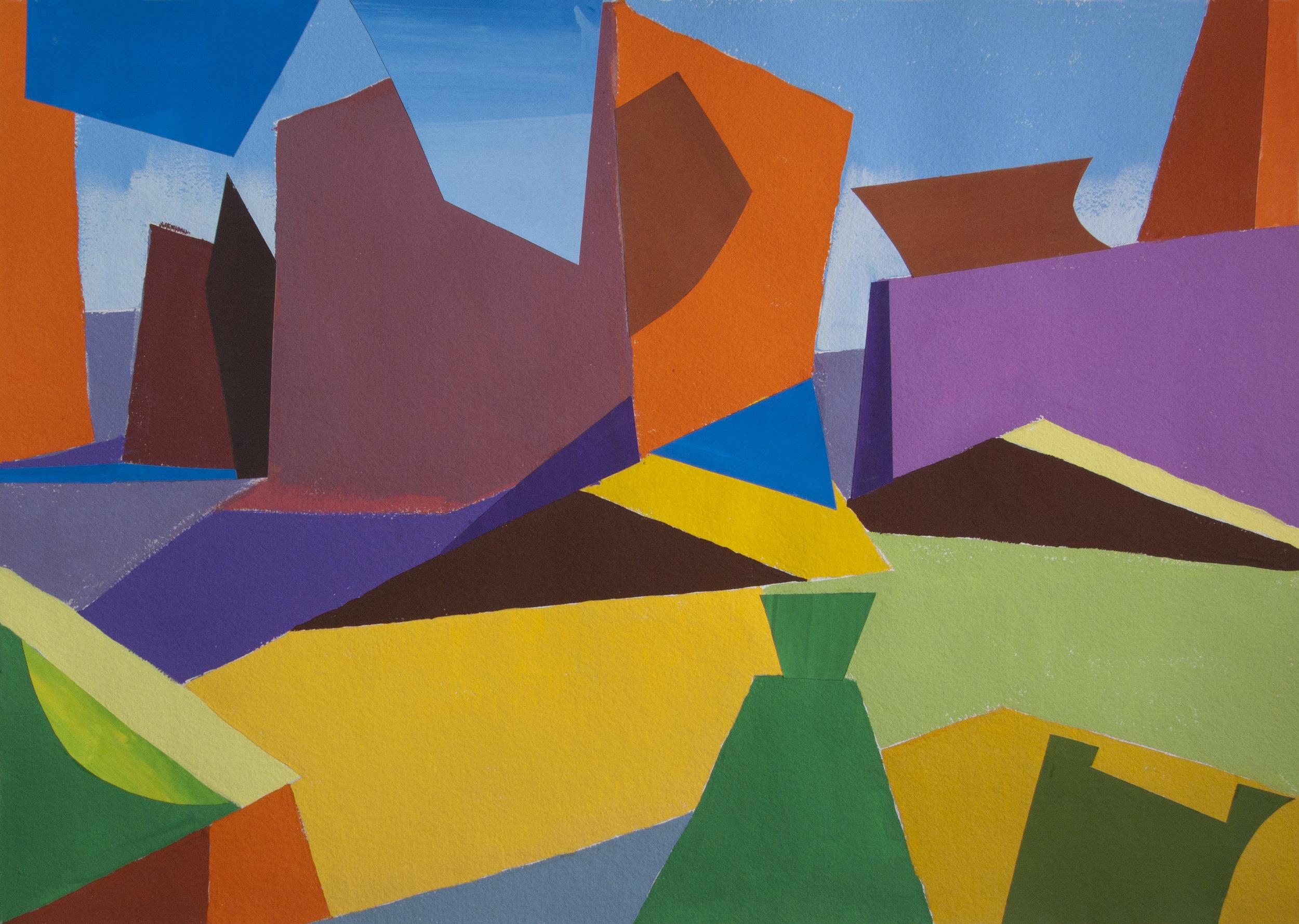 Arches Landscape,  cut paper, gouache, 22 x 30 in., 2018