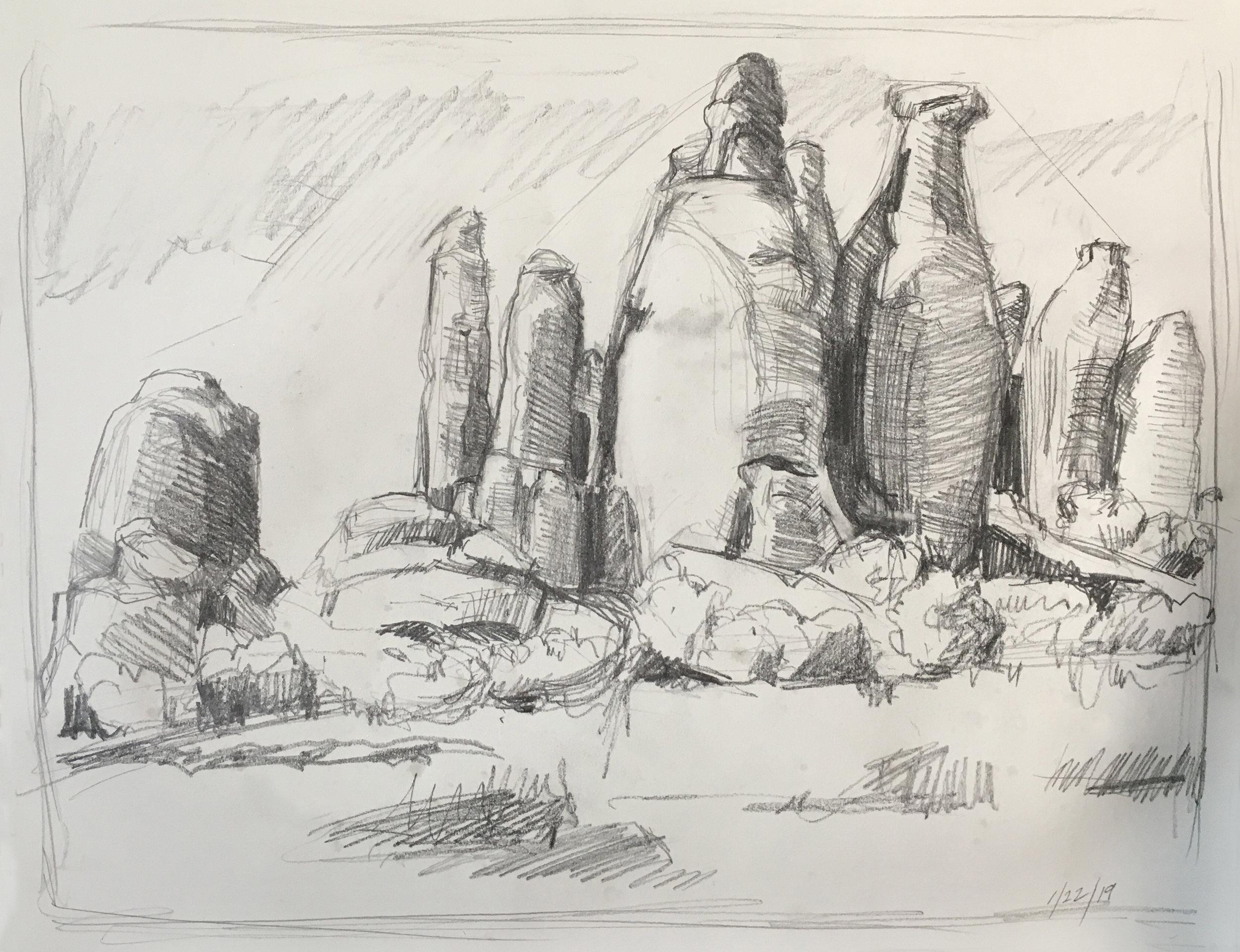 Arches Sketch, 11 x 14 in.,  graphite, 2019