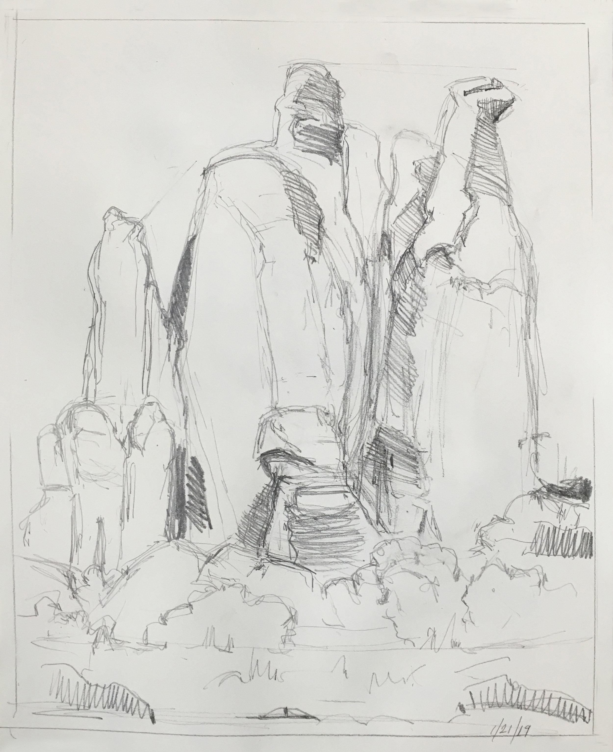 Arches Sketch,  graphite, 14 x 11 in., 2019