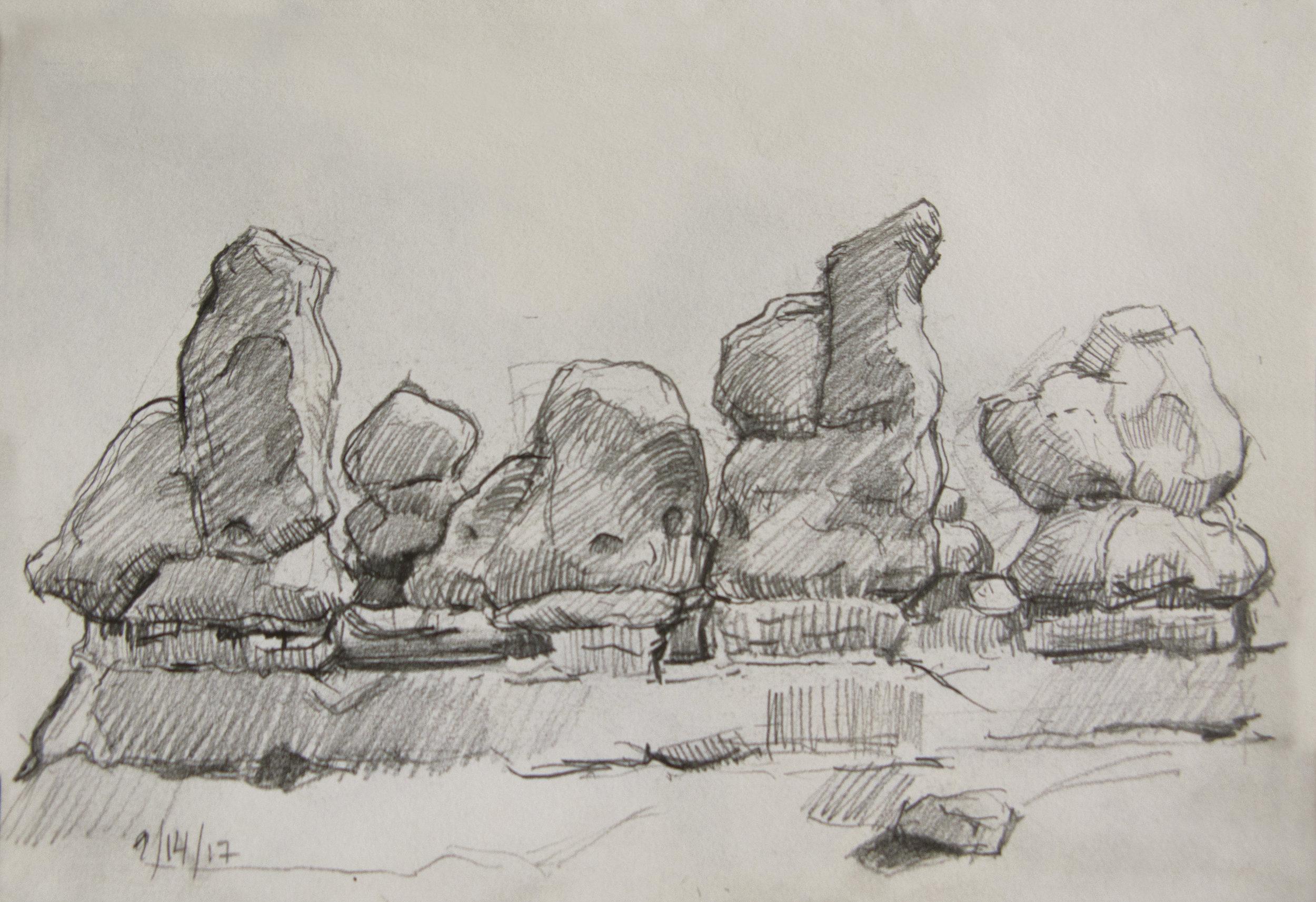 Goblin Valley,  pencil, , 5.5 x 8.5, 2017