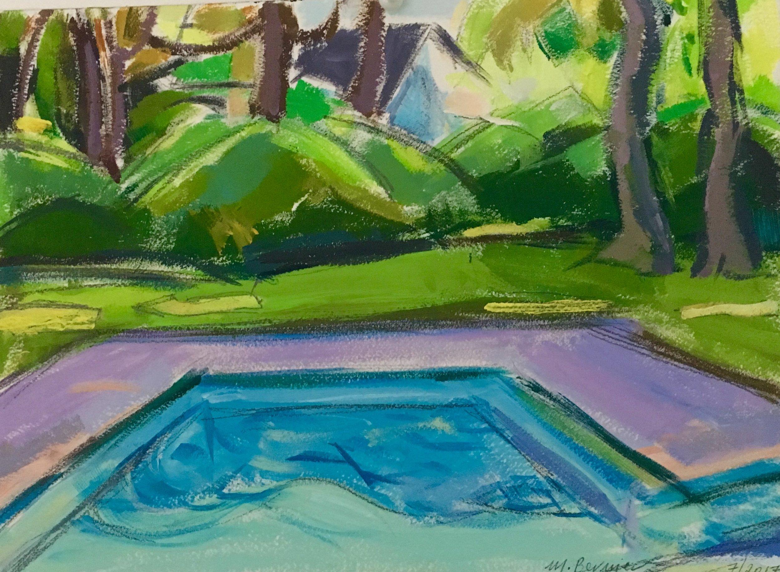 Pool Study I,  gouache, 9 x 12 in., 2017