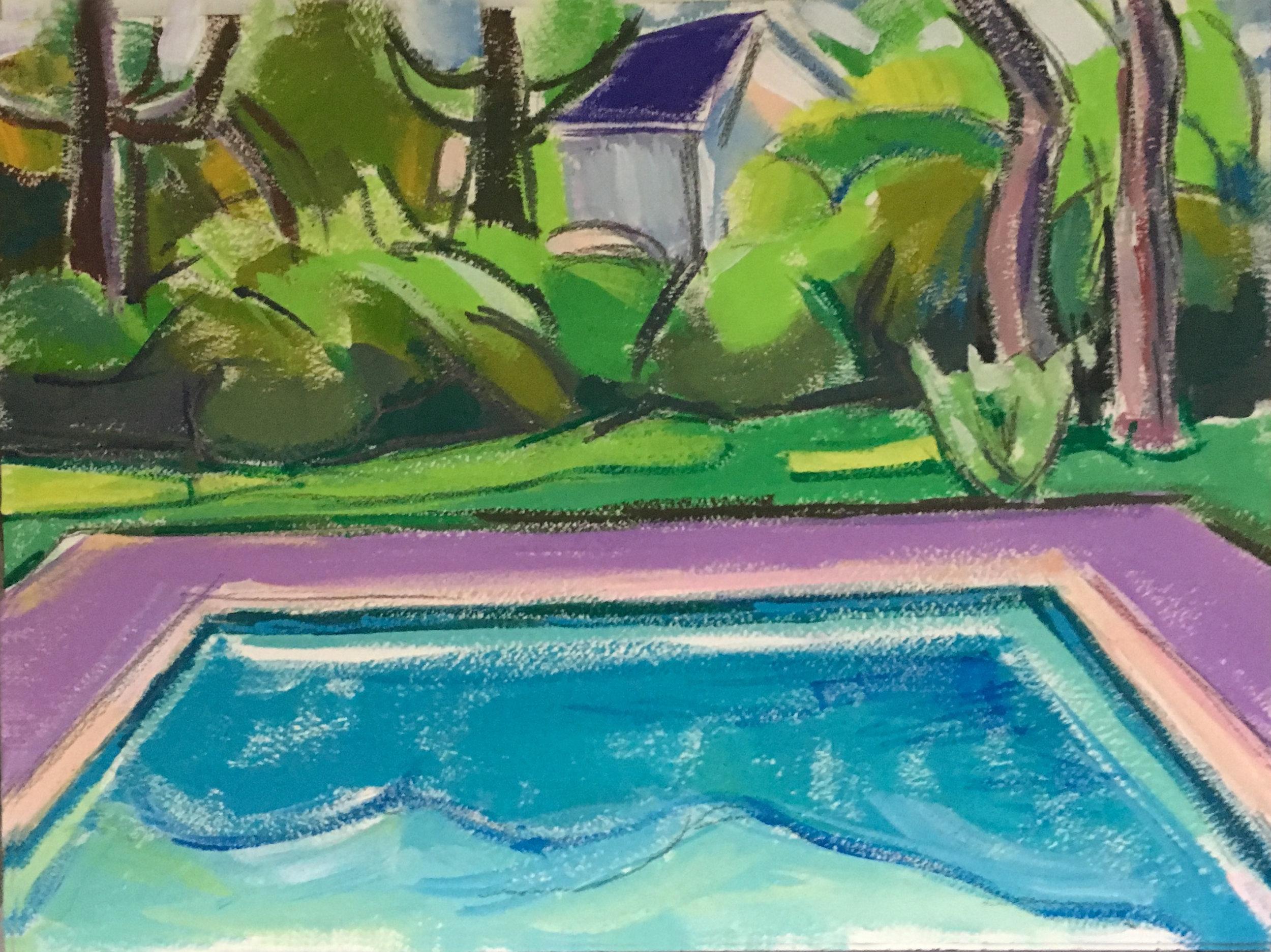 Pool Study II,  gouache, 9 x 12 in., 2017