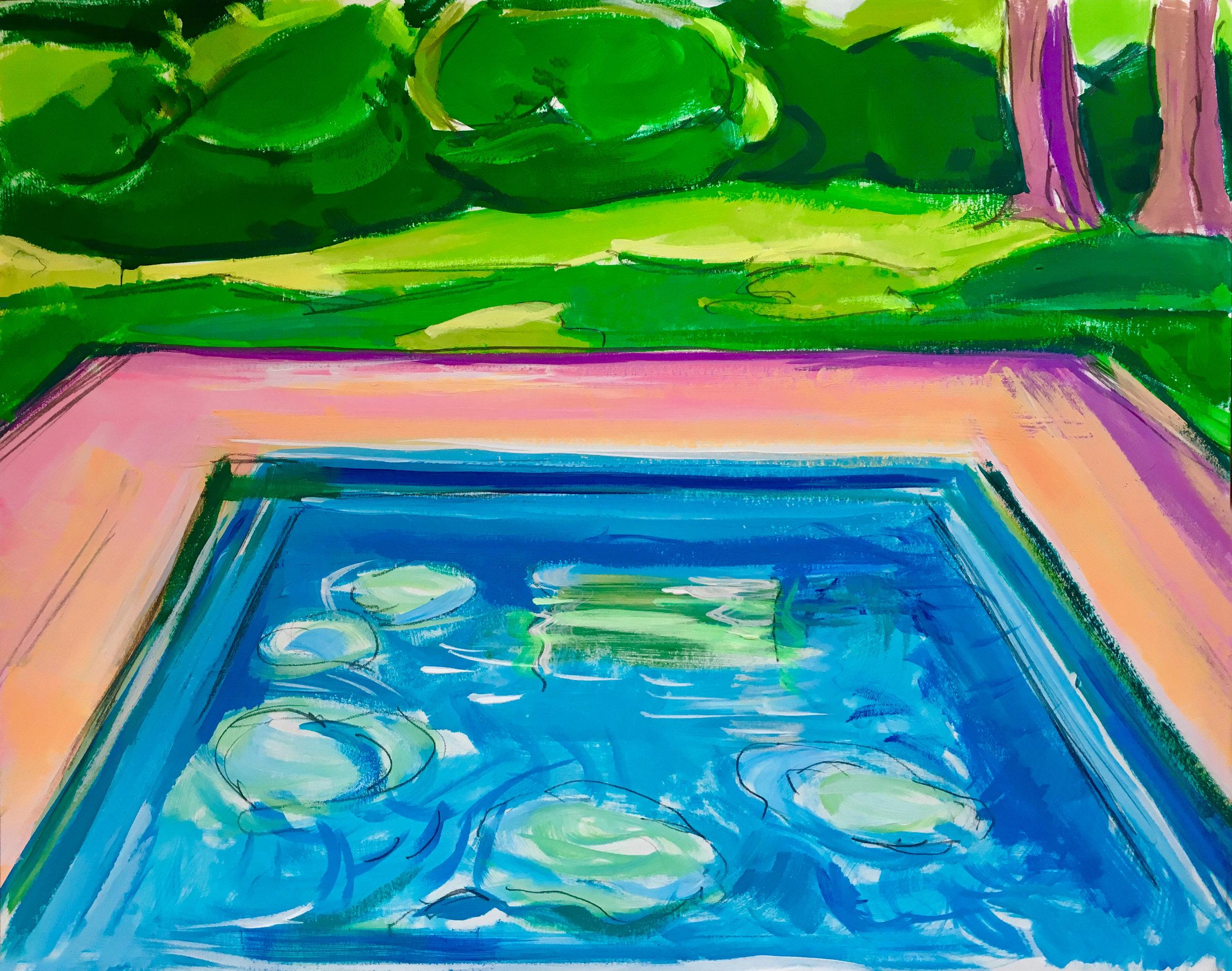 Pool Study IV,  gouache, 11 x 14 in., 2017