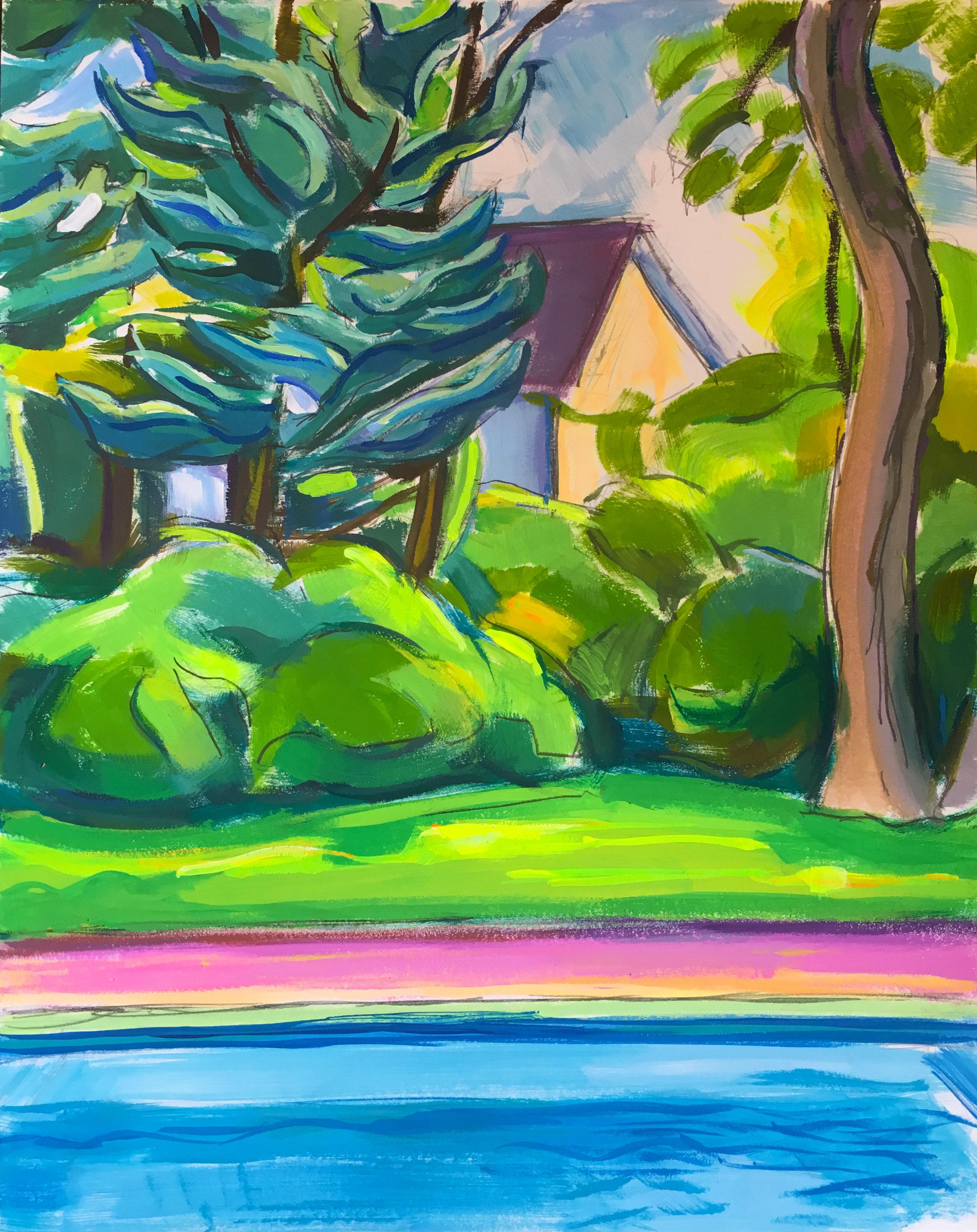 Pool Study V,  gouache, 14 x 11 in., 2017