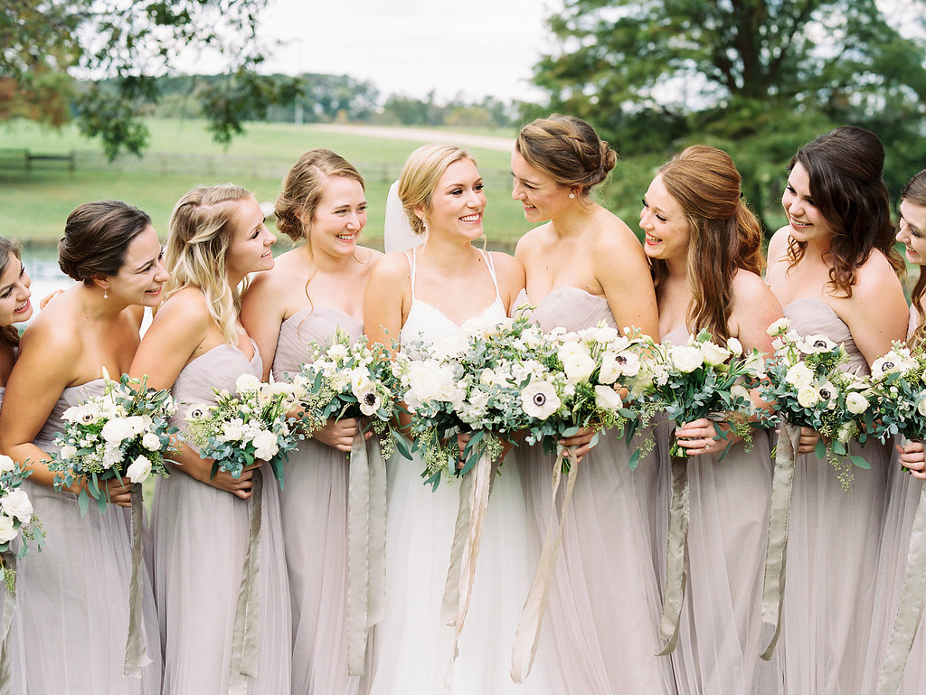 bridesmaids bouquets with anemones