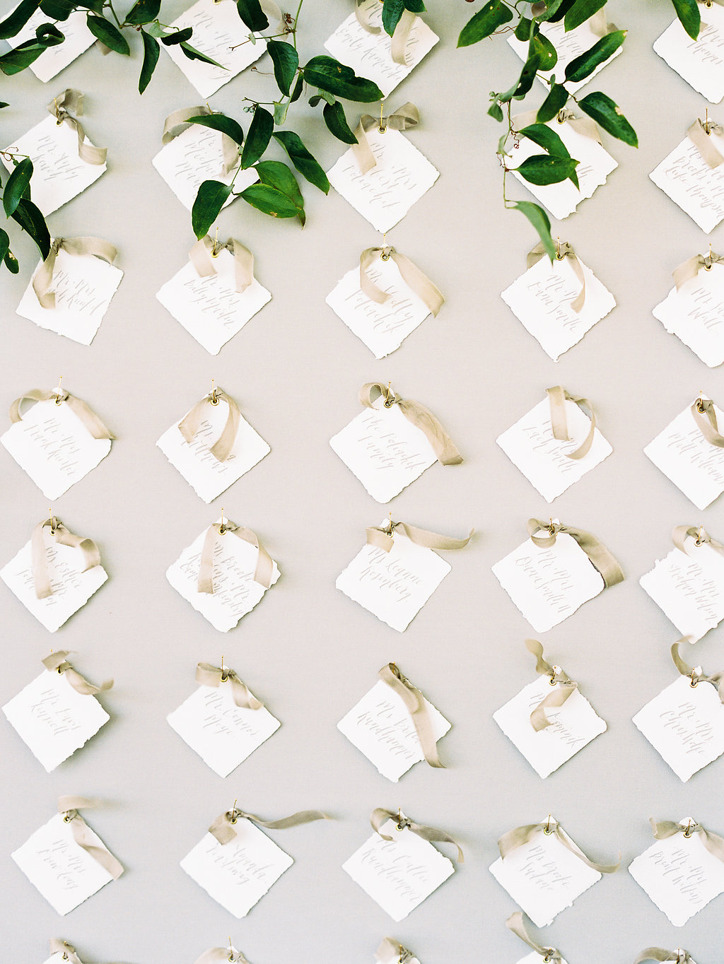 Calligraphy Escort Cards with Silk Ribbon