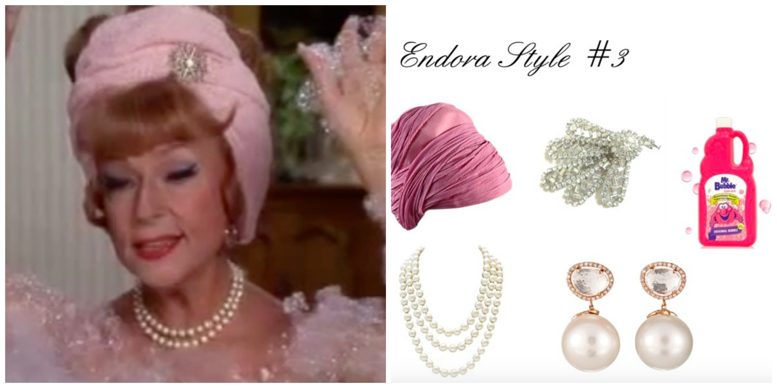 Images:  YouTube , Turban:  1St Dibs ,Brooch:  Etsy , Mr. Bubble:  AmAzon ,Necklace:  1St Dibs ,earrings:  Barney's