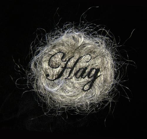 """""""Hag."""" (detail) 2013, embroidery on human hair, velvet, convex glass, frame, 3 x 3"""", 14 x 14"""" framed. Image via Kate Kretz"""