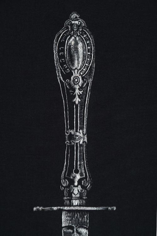 """Une Femme D'Un Certain Âge"" (detail), 2014, grey hair of dozens of women embroidered on black cotton, 33 x 22"". Private collection. Image via Kate Kretz"