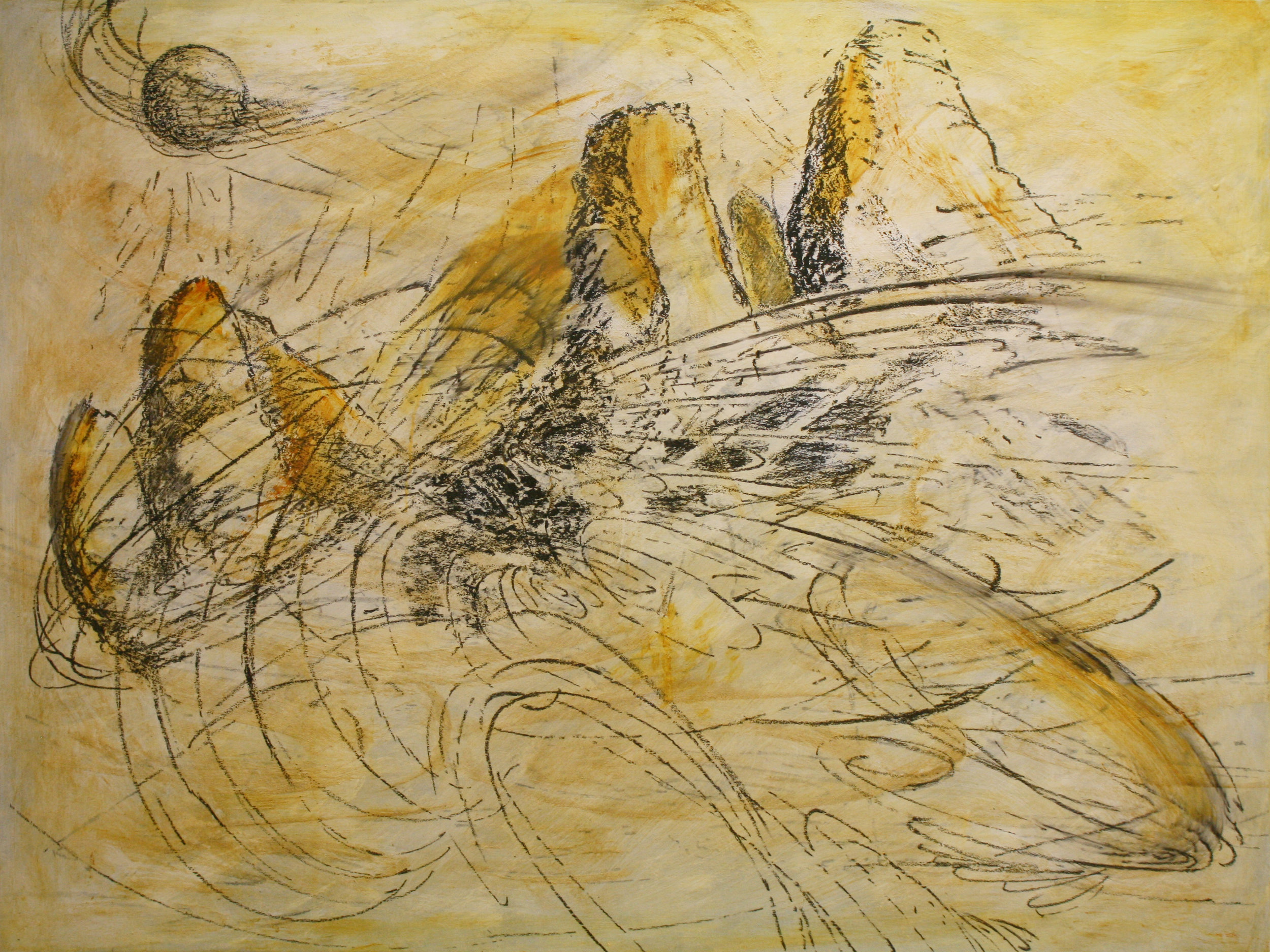"""""""Winter, Foveaux Coastal"""" Oil media with livingstone marl on board Peter Belton"""