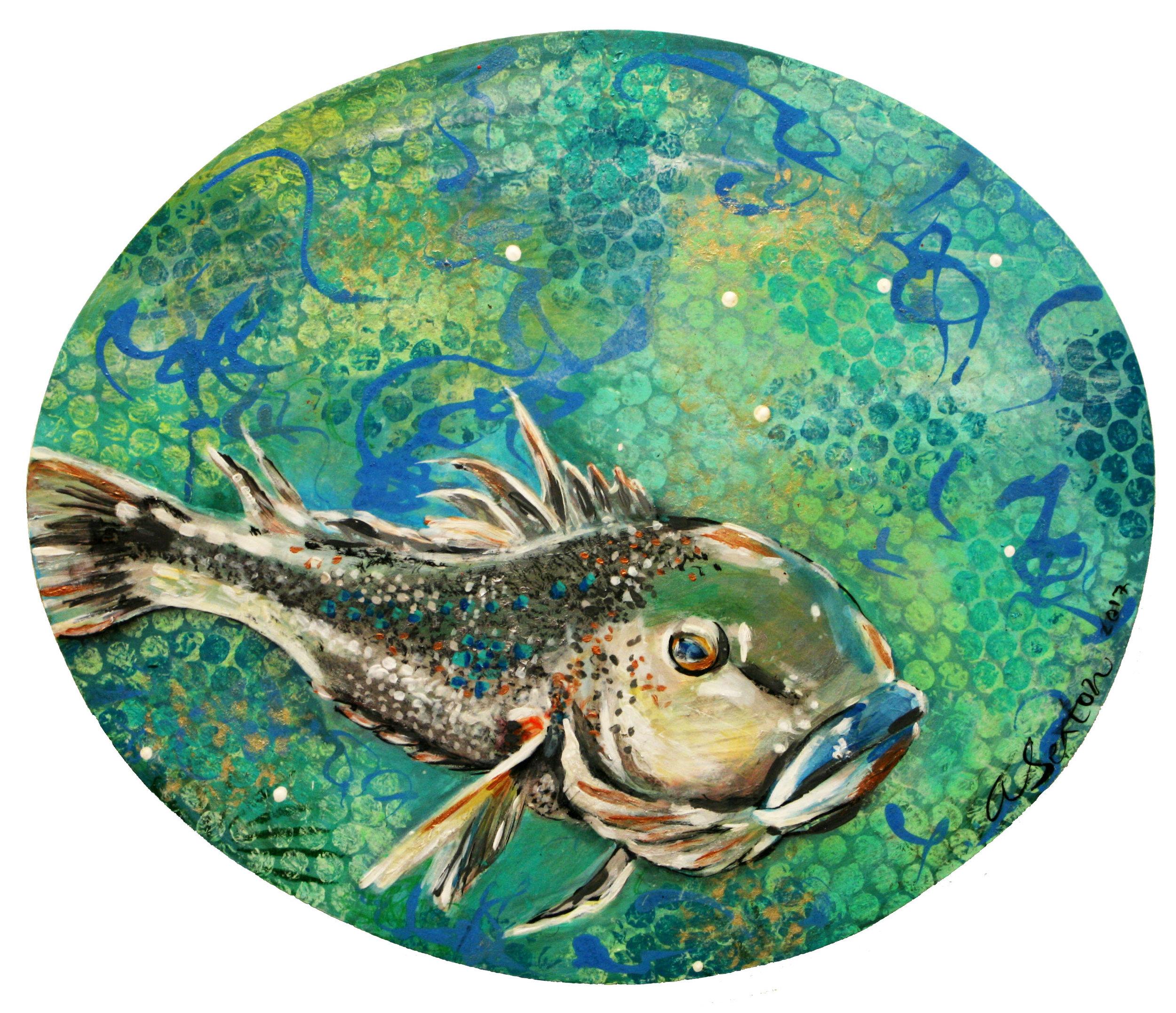 """Bluff Cod"" Acrylic/dyes on medium density fibreboard  Andrea Sexton"