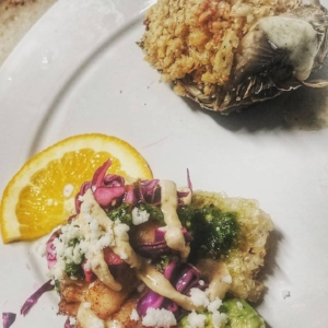deconstructed Baja tacos and crab stuffed artichoke... from California with Love