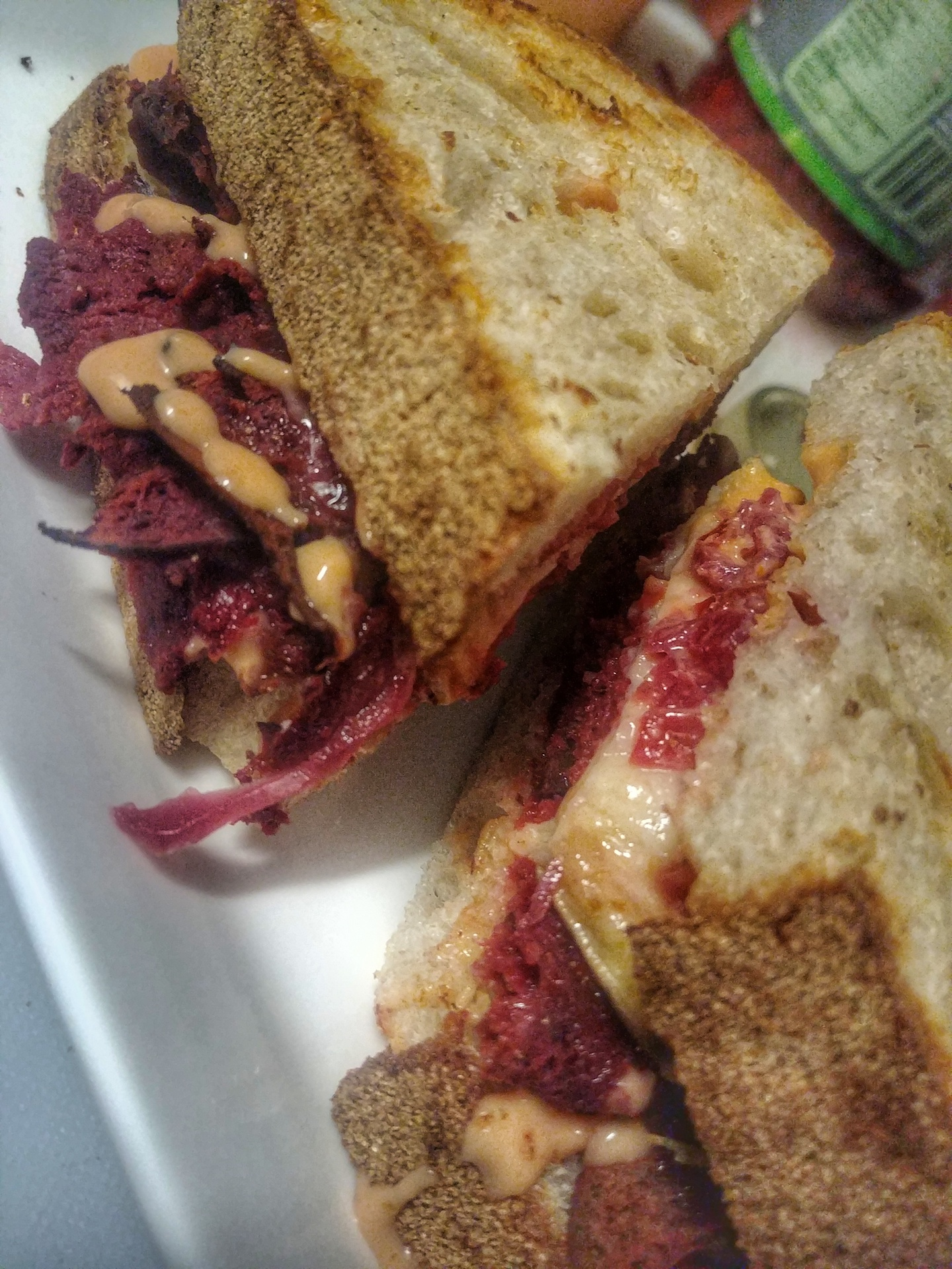 "The Reubenesque…a house made seitan ""Plantstrami"" Reuben sandwich delights vegetarians and non-vegetarians alike!"