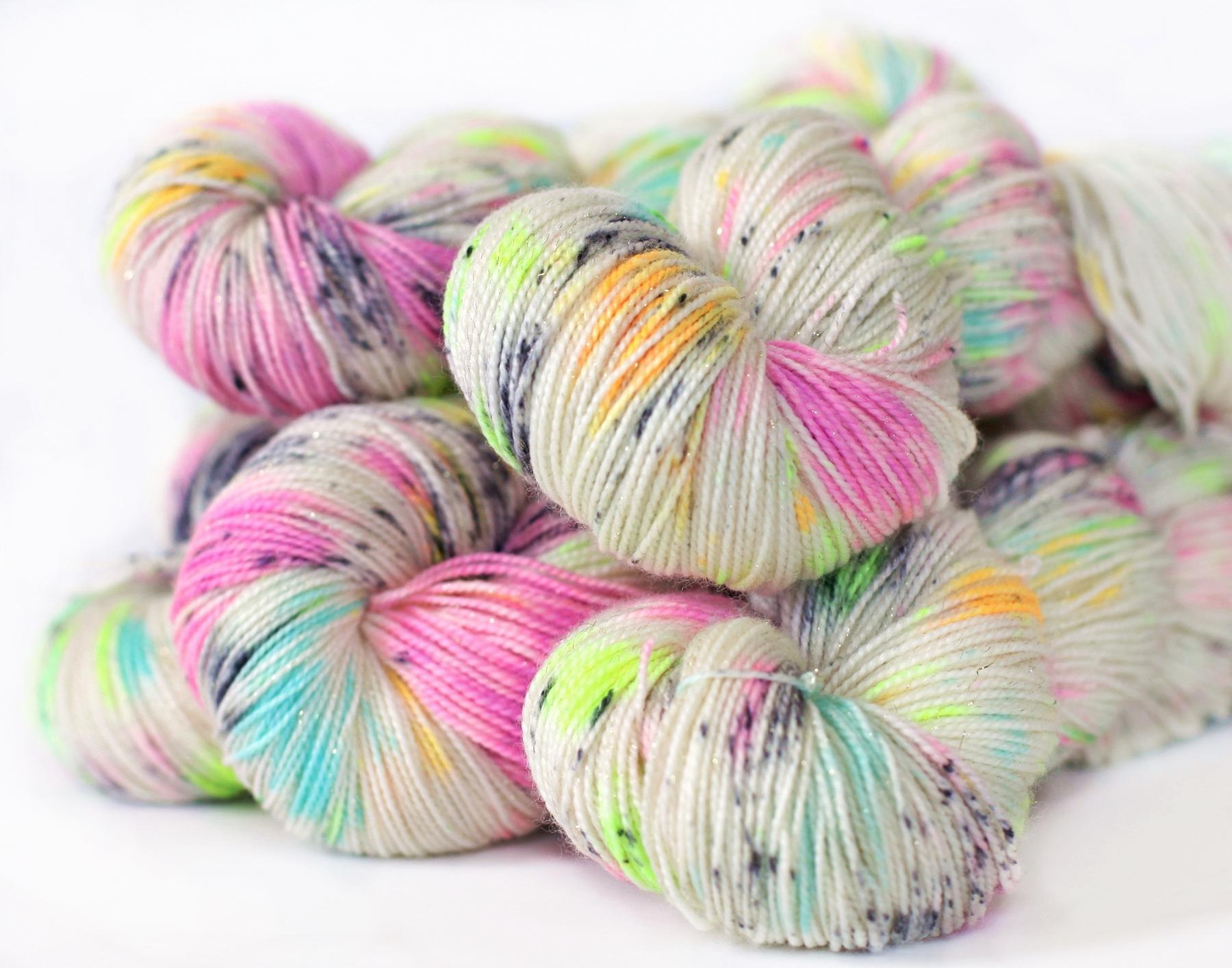 FIZZ BANG on my Glitter Sock yarn base, 463 yards merino/nylon superwash