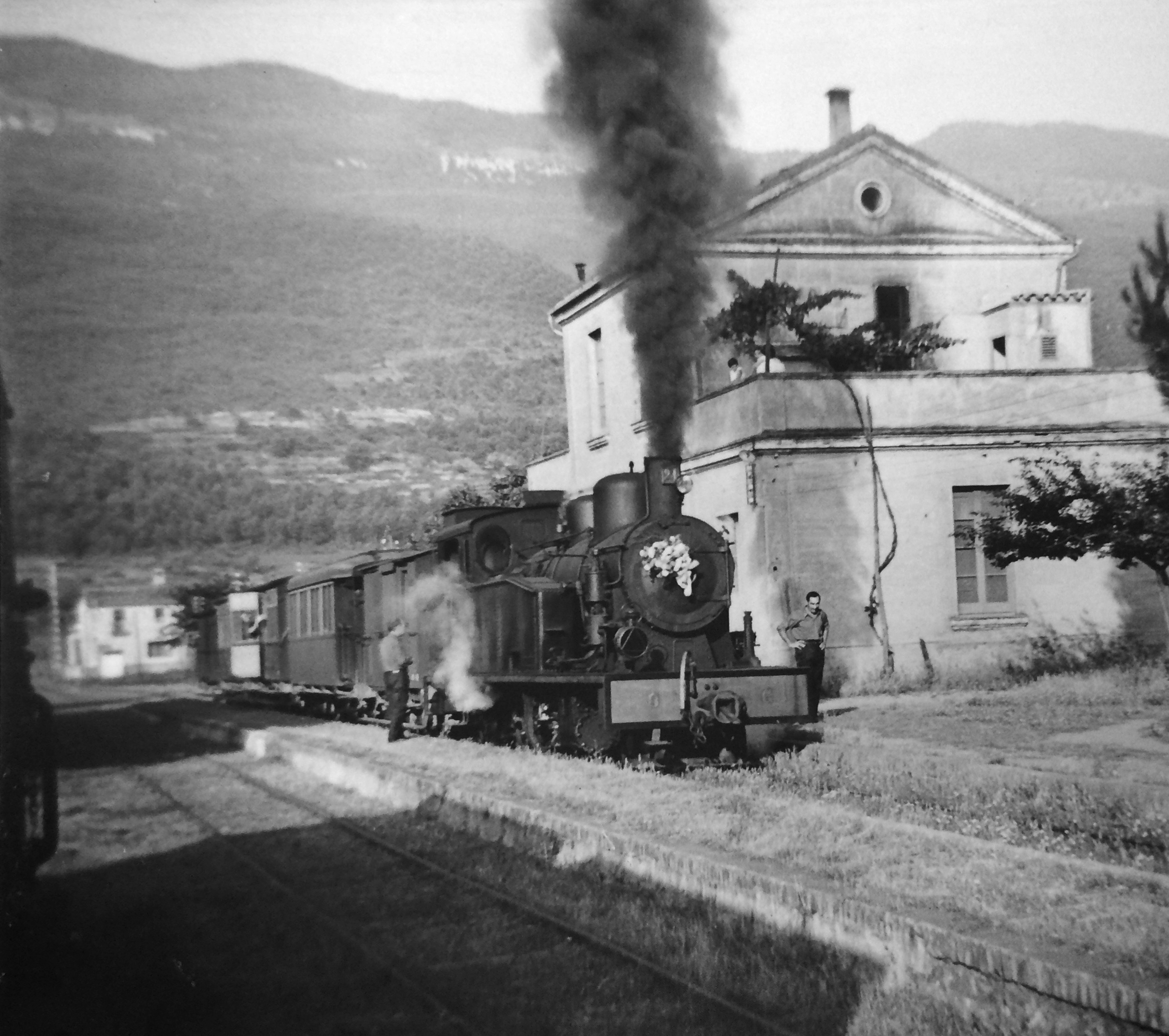 September 1969. The train at Les Planes station—the final run from Girona to Olot.