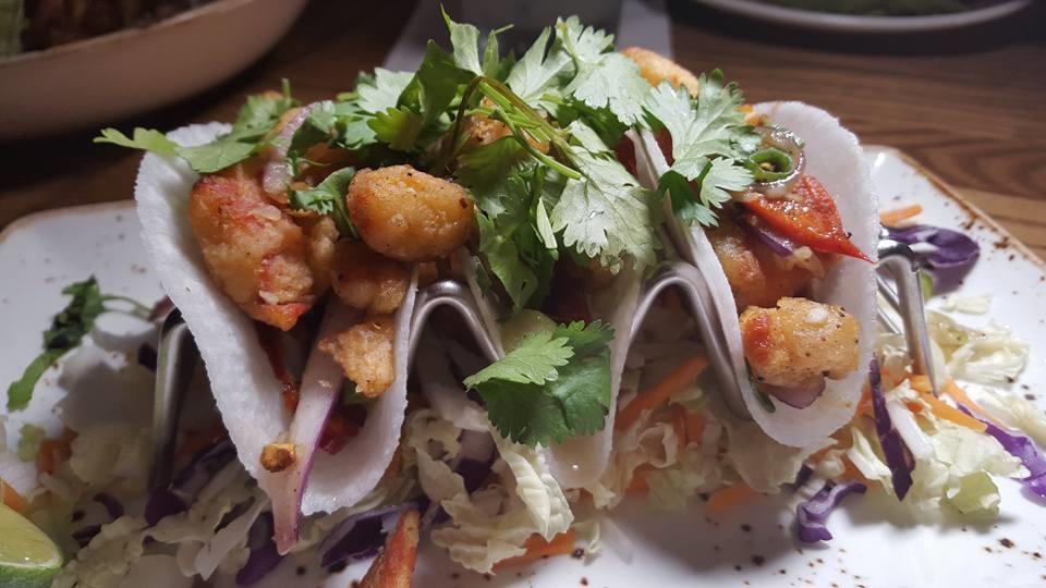 Jicama Tacos filled with Lobster