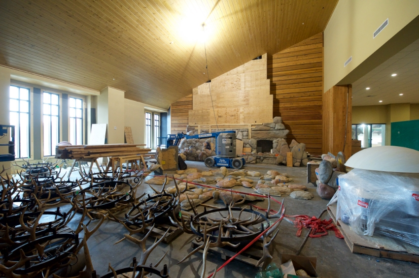 The Grand Lobby taking shape as antler chandeliers await to be mounted Photo Credit: Great Wolf Lodge