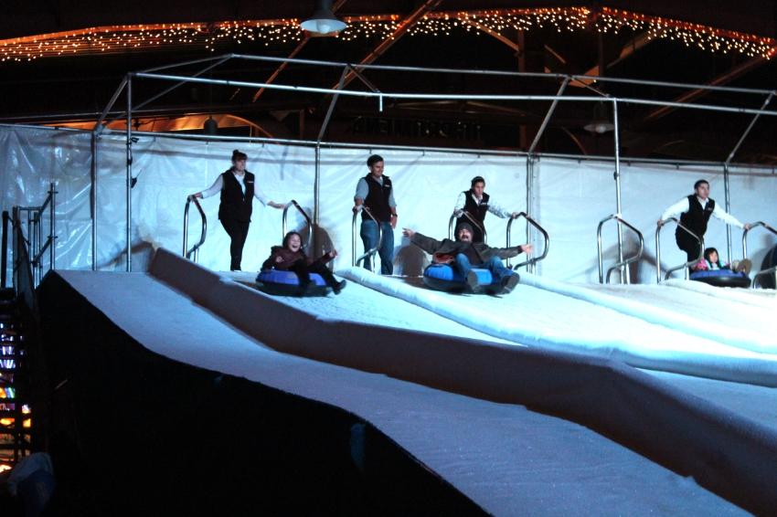 Ice Tubing down a 130' long run, super fast and Fun!