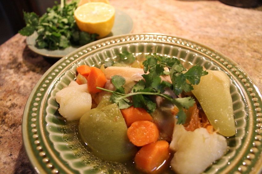 Caldo de Pollo with it's tender vegetables and fall off the bone meat, the perfect rainy weather food!