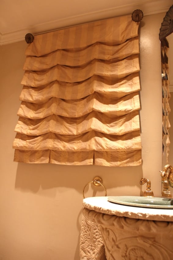 Tone on Tone Vertical Stripe Dupione Silk Roman Shade perfect for most rooms.