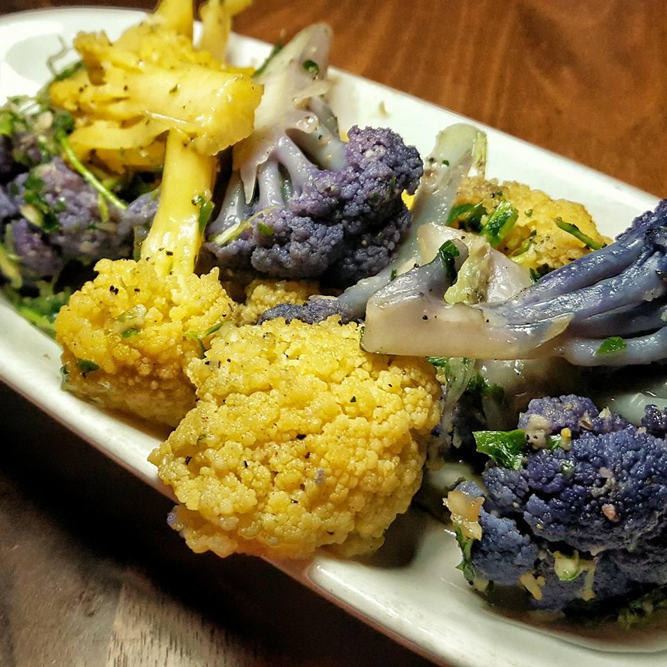 Heirloom Cauliflower with Bagna Cauda Pretty and delish!