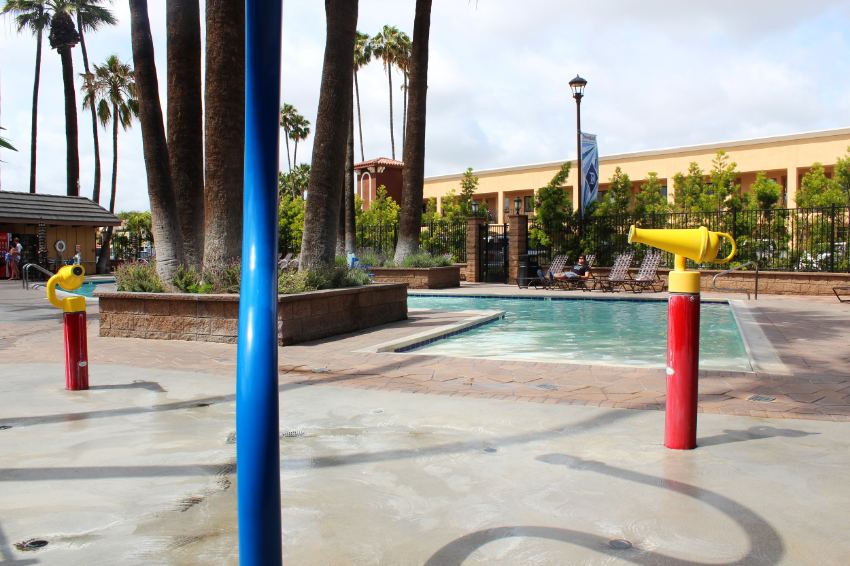 Splash Zone and Beach Entrance to Heated Pool.