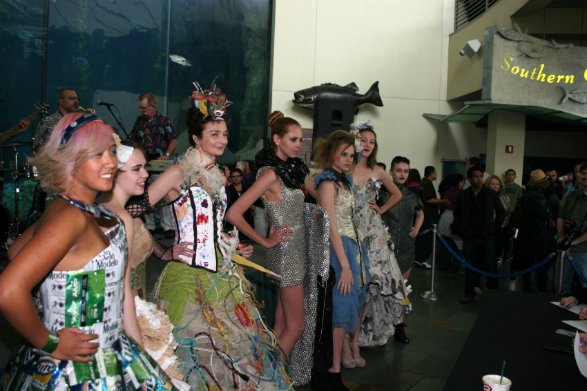 Fashions using recycled materials Photo Credit: Aquiarium Of the Pacific