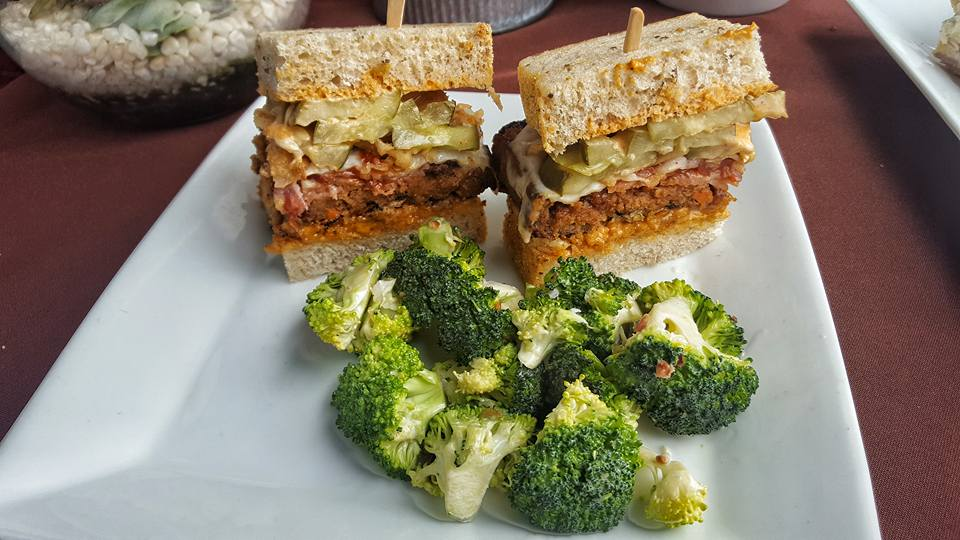 THE Meatloaf Sandwich Featuring   Homemade Meatloaf served on Thick Cut Rye Bread, Chipotle Mayo Provolone Cheese, Crispy Fried Onions, Bacon, & Pickles.