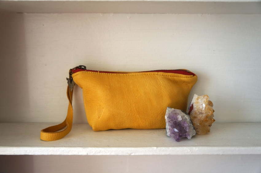 Photo Credit:  Vaalbara Designs  Chloe Pouch in Yellow Leather $88