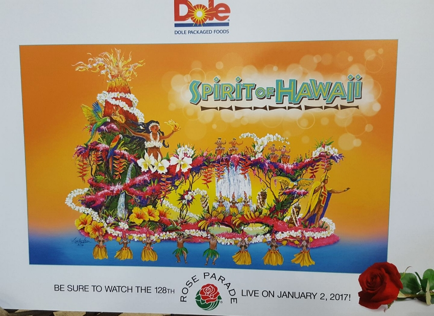 """The rendering for the """"Spirit of Hawaii"""" Float"""
