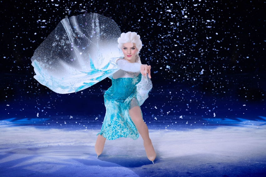Elsa was dazzling on ice as the snow fell all around! Photo Credit: Disney On Ice