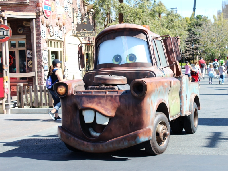 Tow mater getting ready to meet up with his fans.