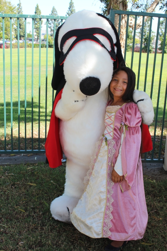 Fun with her favorite Snoopy during Camp Spooky