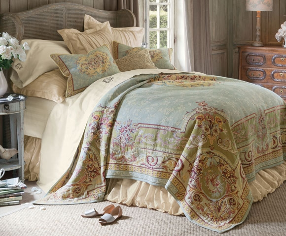 My inspiration (besides my daughter) This French Provincial Aubbusson patterned coverlet, gorgeous isn't it!