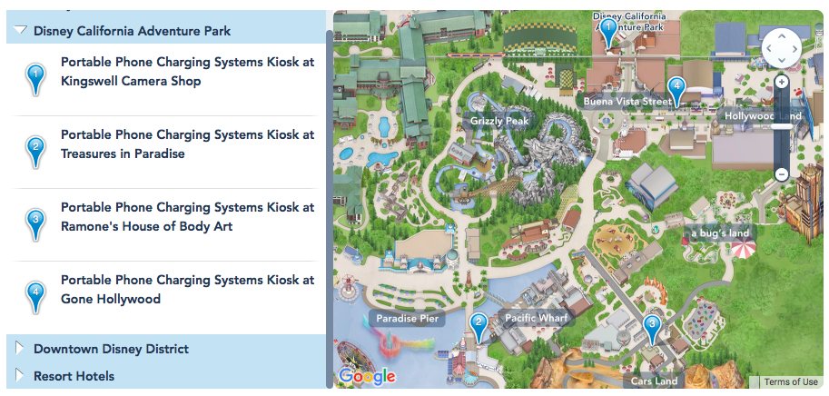 Kiosk Locations listed on the Disneyland App