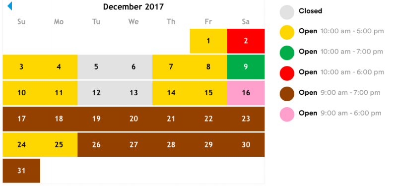 Legoland Hours and days of operation in December